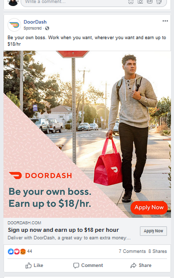 a screenshot of a Facebook ad featuring DoorDash